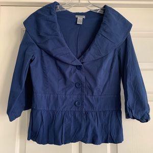 Anthropologie Elevenses Blue Peplum Blazer Jacket